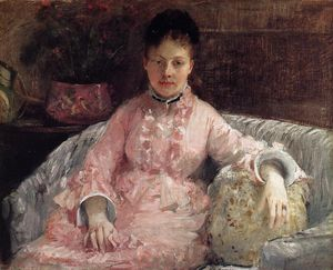 Berthe Morisot - Portrait of a Woman in a pink dress