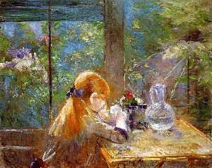 Berthe Morisot - Red haired girl sitting on a veranda