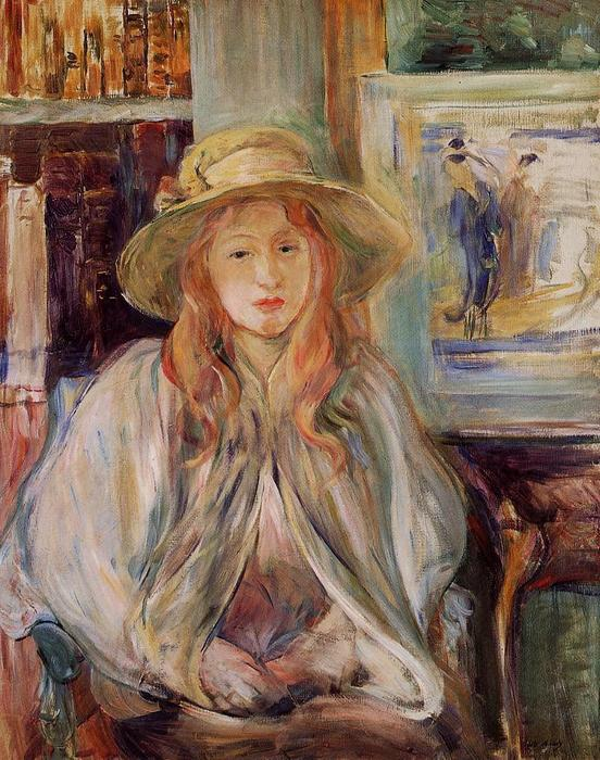 famous painting Julie Manet with a straw hat of Berthe Morisot
