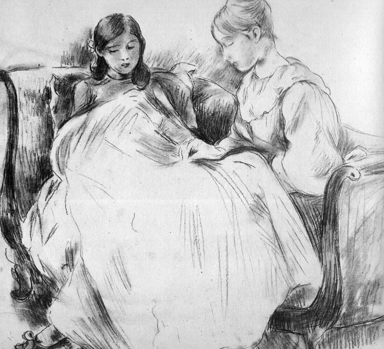 famous painting The seamstress Sun of Berthe Morisot