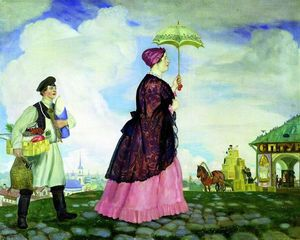 Boris Mikhaylovich Kustodiev - Mercahnt's Wife with Purchases