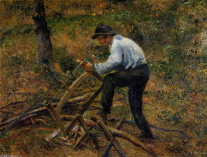 Camille Pissarro - Pere Melon Sawing Wood, Pontoise