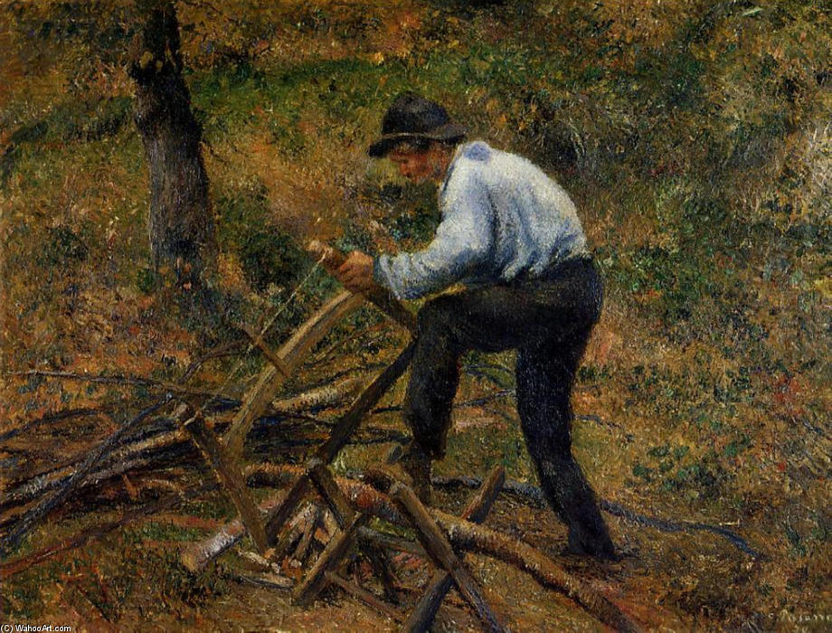 famous painting Pere Melon Sawing Wood, Pontoise of Camille Pissarro