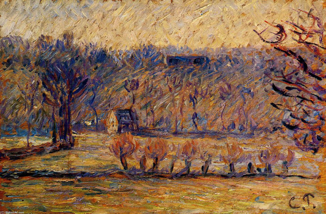famous painting The Hill at Vaches, Bazincourt of Camille Pissarro