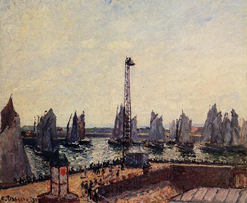 famous painting The Inner Port and Pilots Jetty, Havre of Camille Pissarro