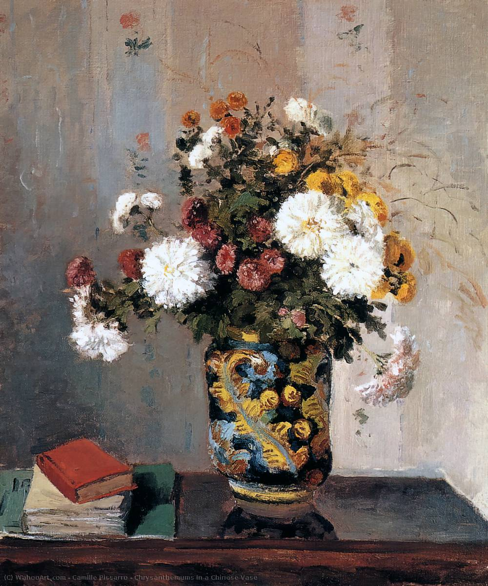 famous painting Chrysanthemums In a Chinese Vase of Camille Pissarro
