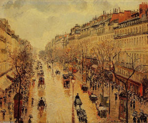 Camille Pissarro - Boulevard Montmartre Afternoon, in the Rain