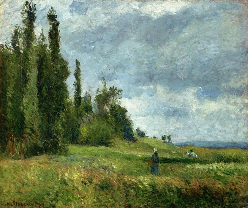 famous painting A part of Groettes, Pontoise, Gray Weather of Camille Pissarro