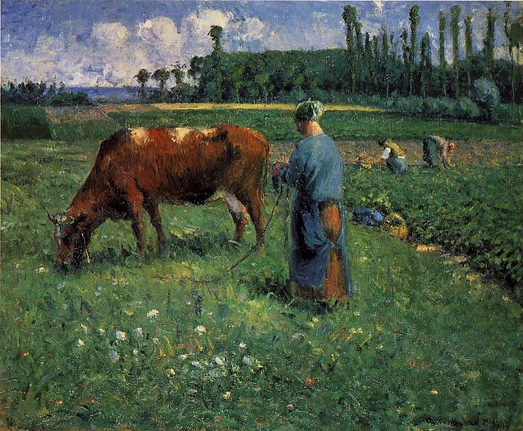 famous painting Girl Tending a Cow in Pasture of Camille Pissarro