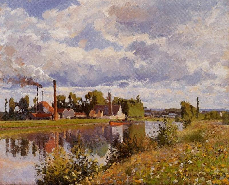 famous painting The River Oise near Pontoise of Camille Pissarro