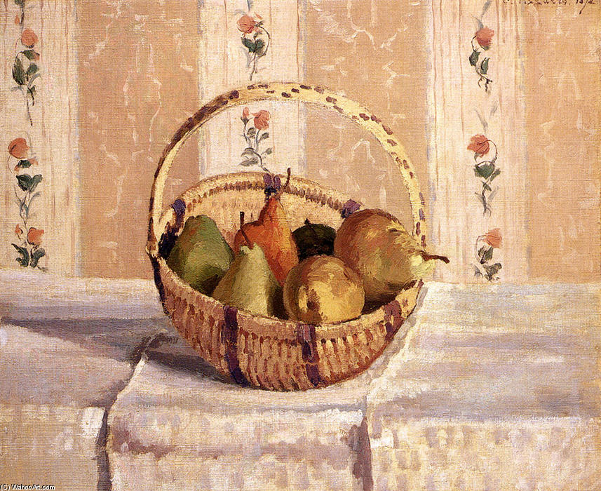 famous painting Apples and Pears in a Round Basket of Camille Pissarro