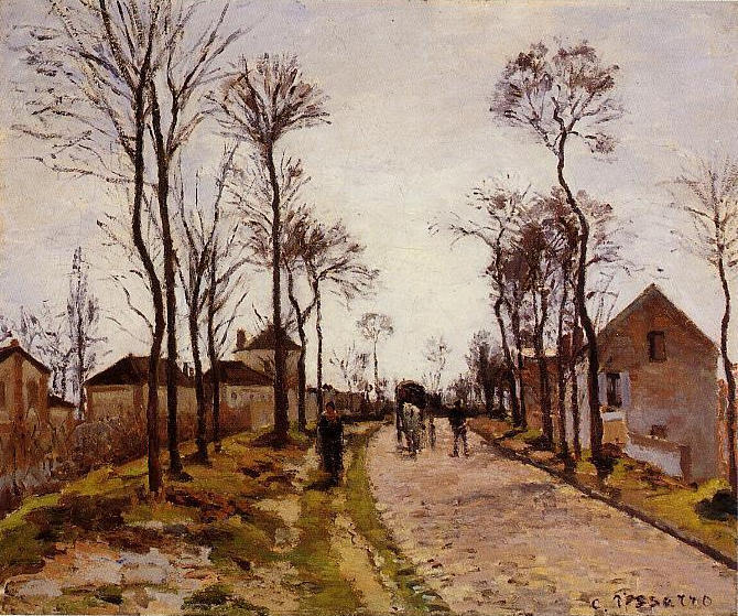 famous painting The Road to Saint Cyr at Louveciennes of Camille Pissarro