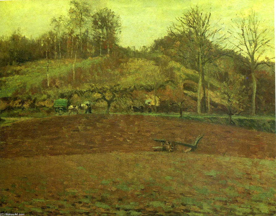 famous painting Ploughland of Camille Pissarro