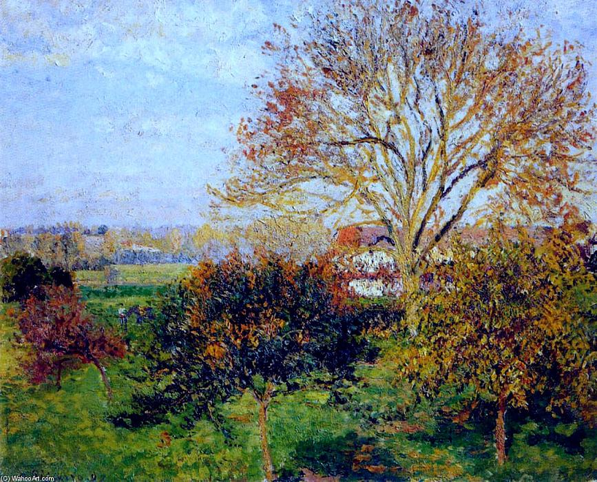 famous painting Autumn morning at Eragny of Camille Pissarro
