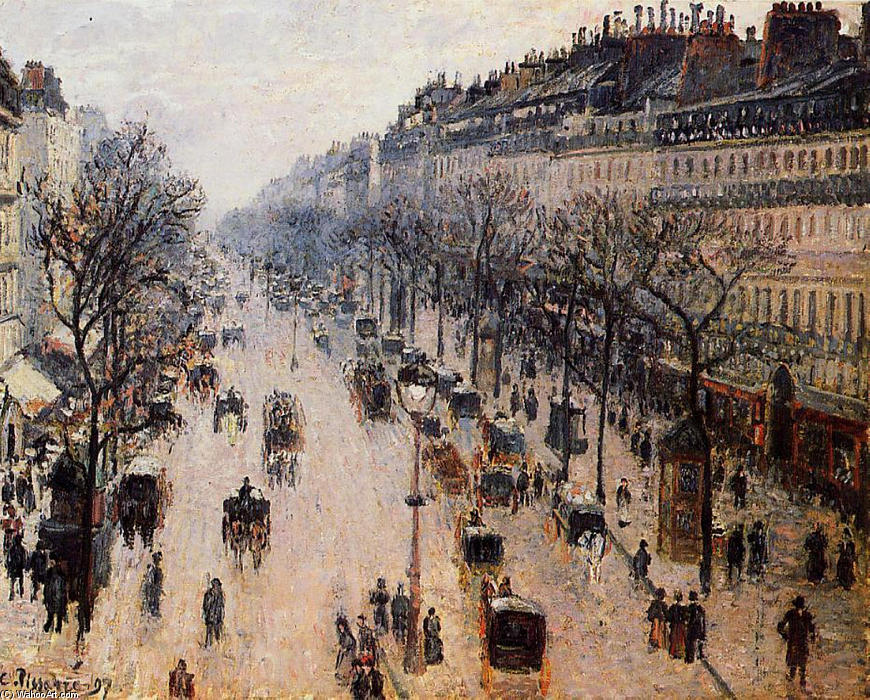 famous painting Boulevard Montmartre Winter Morning of Camille Pissarro