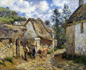 Camille Pissarro - A Street in Auvers (Thatched Cottage and Cow)