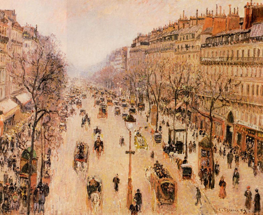 famous painting Boulevard Montmartre Morning, Grey Weather of Camille Pissarro