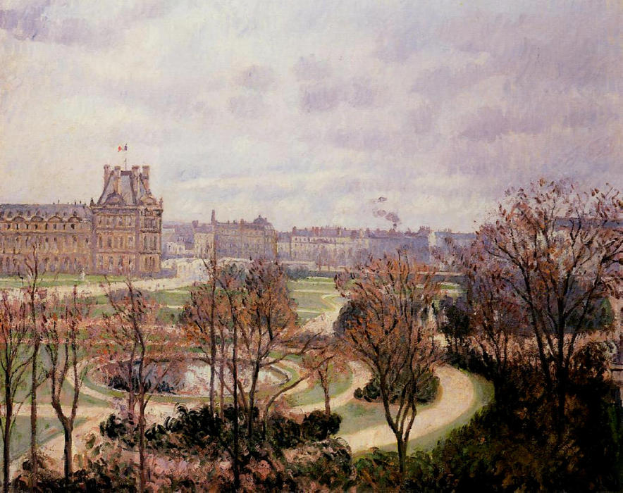 famous painting View of the Tuileries, Morning of Camille Pissarro