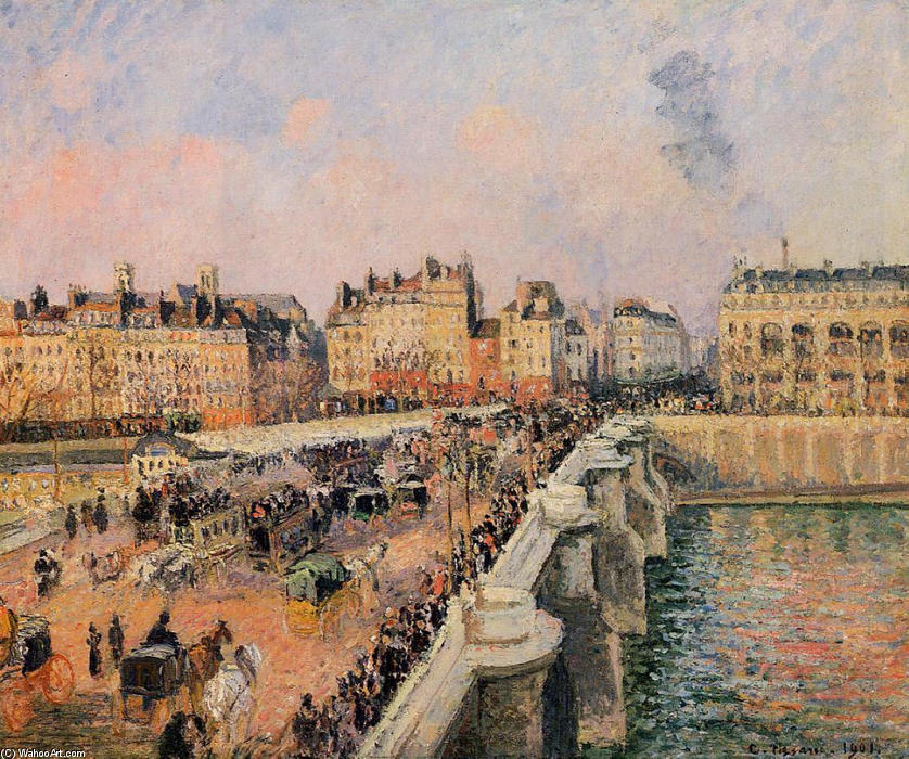 famous painting The Pont Neuf, Afternoon of Camille Pissarro