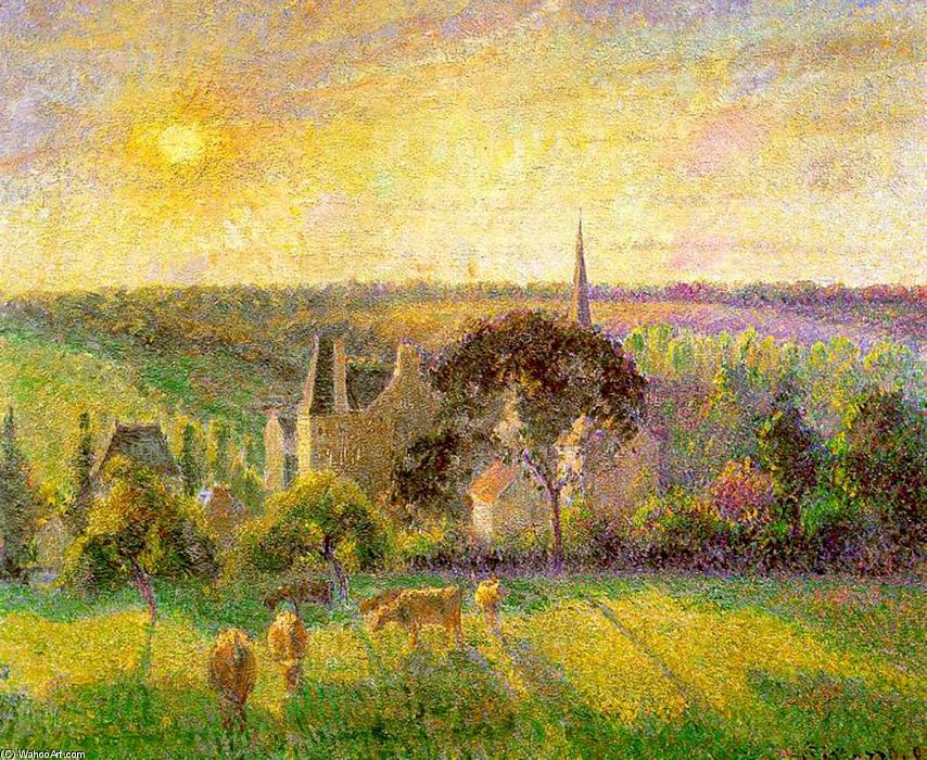 famous painting The Church and Farm of Eragny of Camille Pissarro