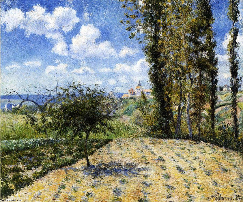 famous painting View Towards Pontoise Prison, in Spring of Camille Pissarro