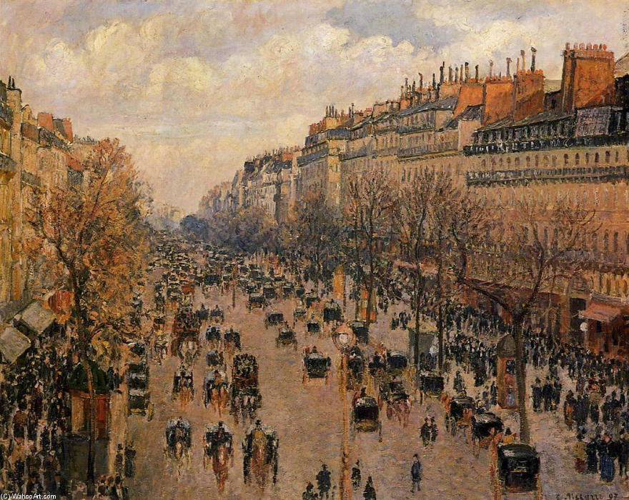 famous painting Boulevard Montmartre Afternoon, Sunlight of Camille Pissarro