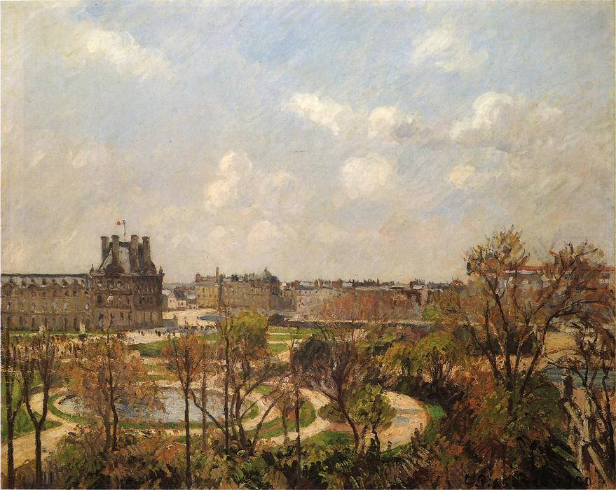 famous painting The Garden of the Tuileries, Morning, Spring of Camille Pissarro