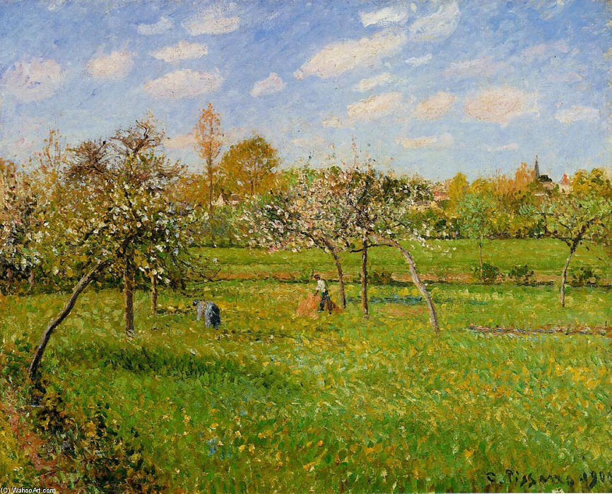 famous painting Spring Morning, Cloudy, Eragny of Camille Pissarro