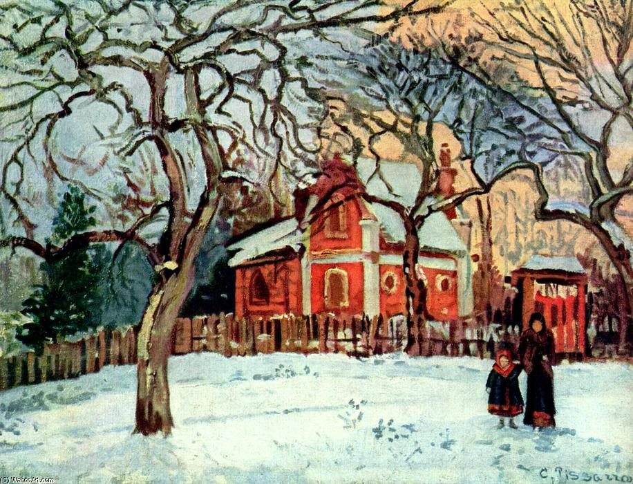 famous painting Chestnut Trees, Louveciennes, Winter of Camille Pissarro