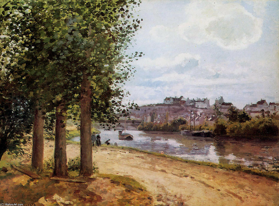famous painting Pontoise banks of the Oise of Camille Pissarro