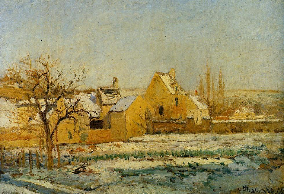 famous painting The Effect of Snow at Hermitage of Camille Pissarro