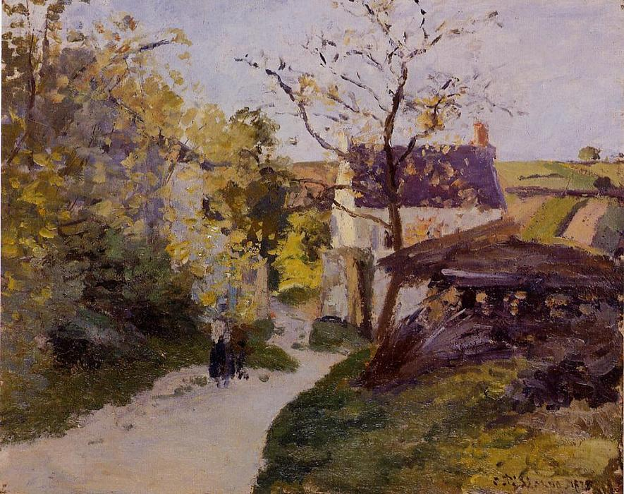 famous painting The Large Walnut Tree at Hermitage of Camille Pissarro