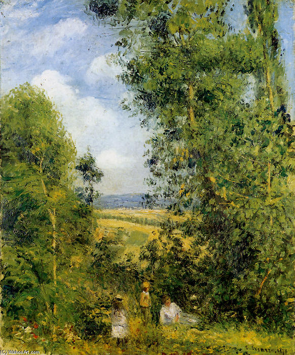 famous painting Resting in the woods Pontoise of Camille Pissarro