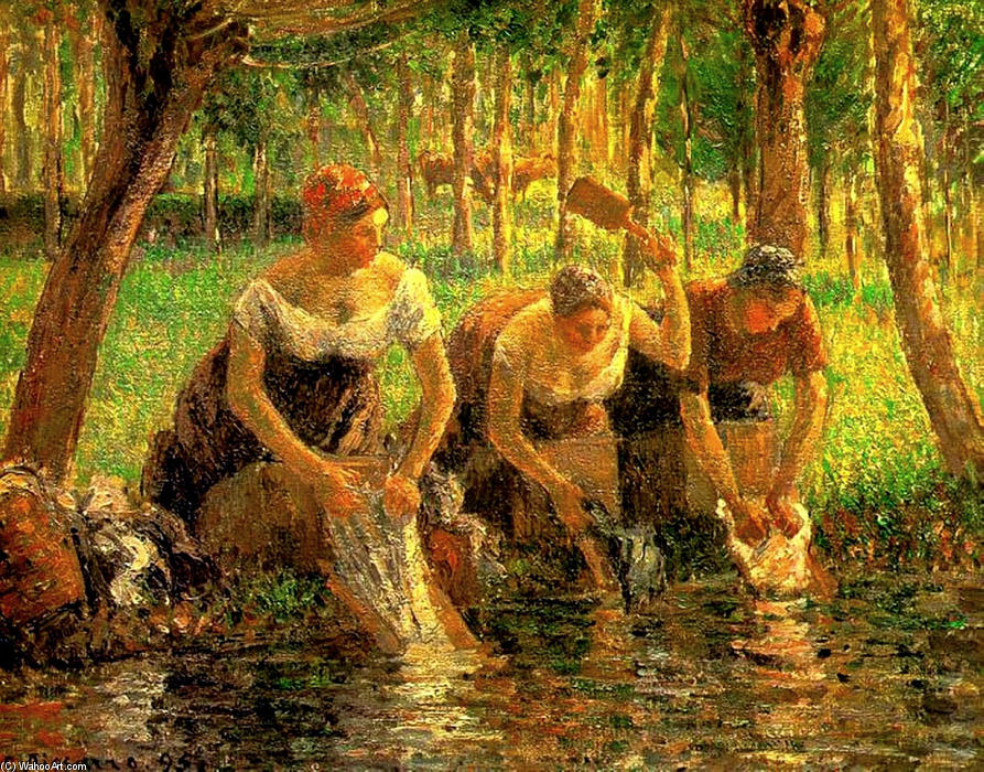famous painting Laundring Women. Eragny sur Eptes of Camille Pissarro