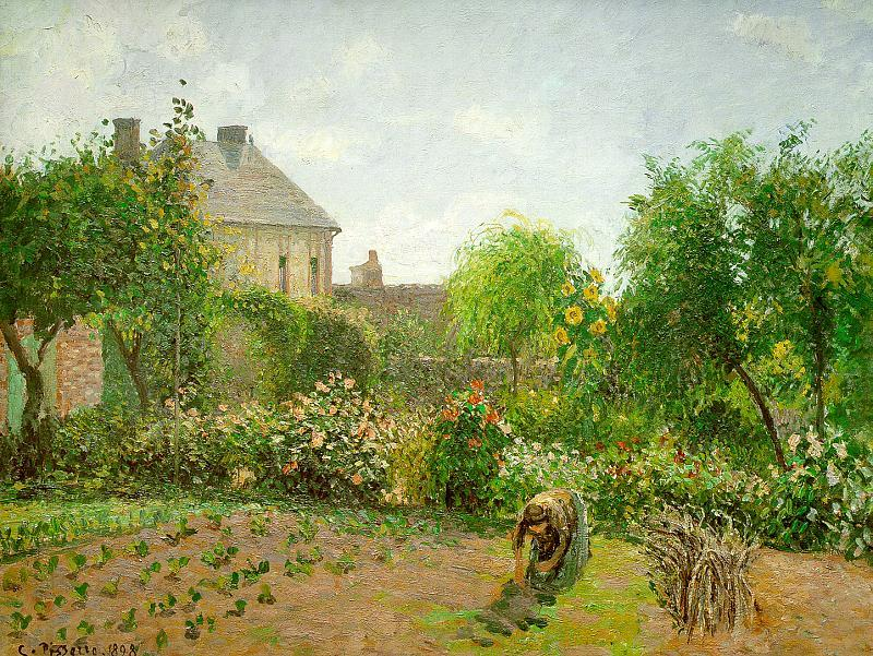famous painting The Artist's Garden at Eragny of Camille Pissarro