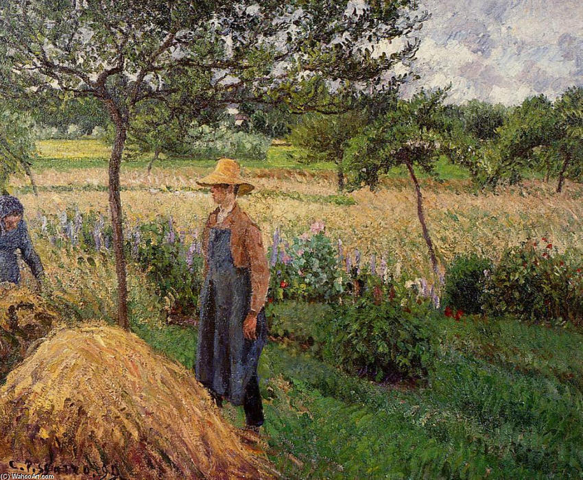 famous painting Grey Weather, Morning with Figures, Eragny of Camille Pissarro