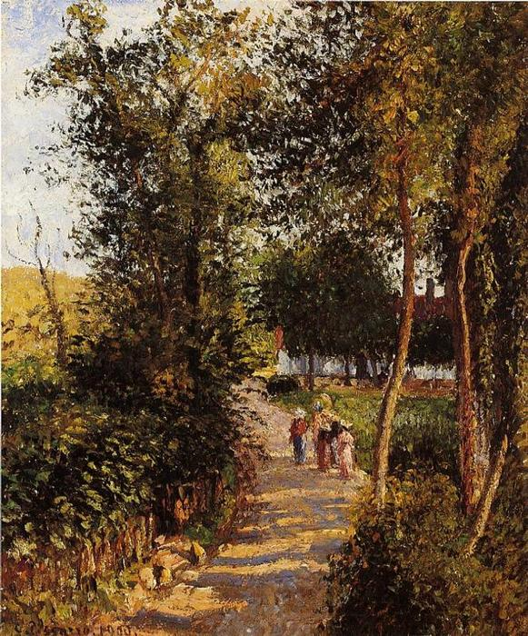 famous painting Road to Berneval-le-Petit of Camille Pissarro