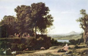Claude Lorrain (Claude Gellée) - Landscape with Apollo and the Muses