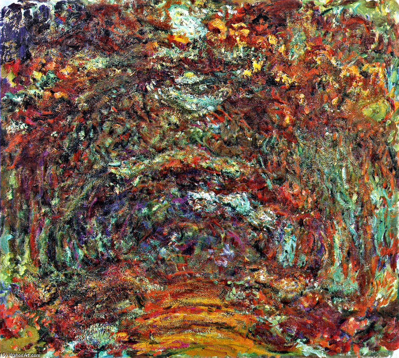 famous painting The Rose Path, Giverny of Claude Monet