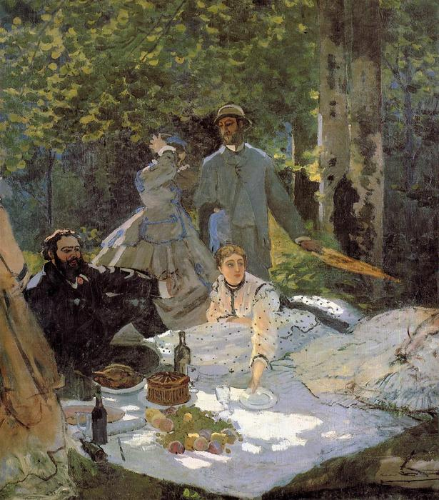 famous painting Lunch on the Grass (central panel) of Claude Monet
