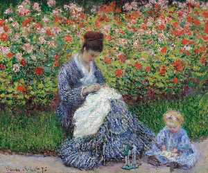 Claude Monet - Camille Monet and a Child in the Artist's Garden in Argenteuil