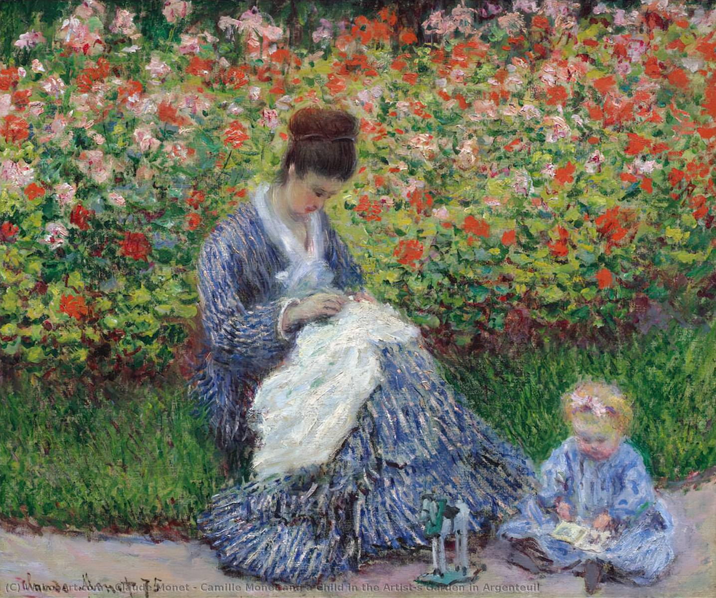 Buy Museum Art Reproductions Impressionism | Camille Monet and a Child in the Artist's Garden in Argenteuil by Claude Monet | TopImpressionists.com