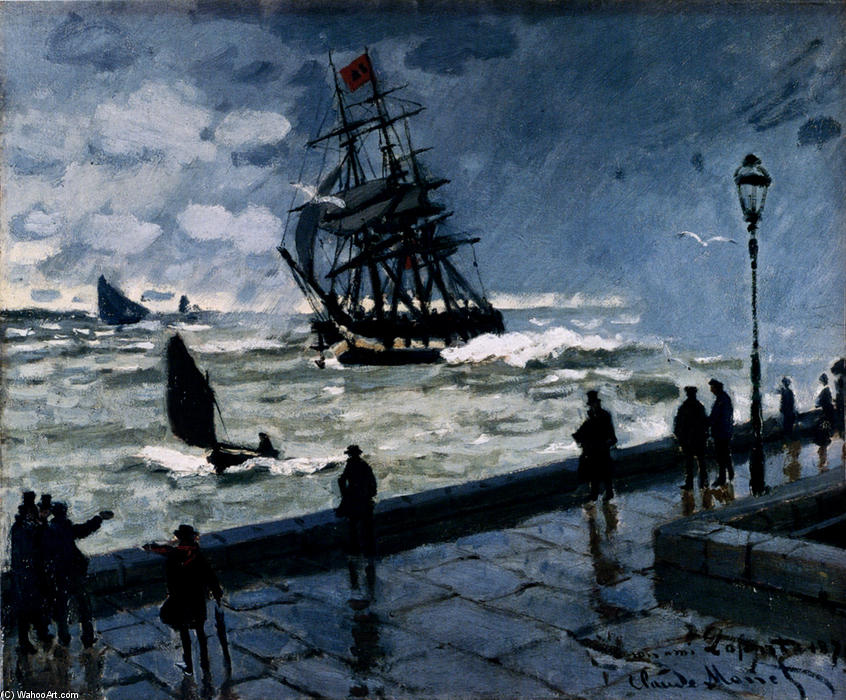 famous painting The Jetty at Le Havre, Bad Weather of Claude Monet