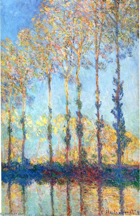 famous painting Poplars on the Banks of the Epte of Claude Monet