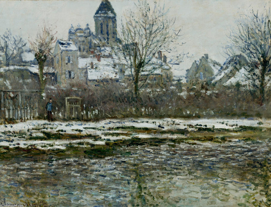 famous painting The Church at Vetheuil under Snow of Claude Monet