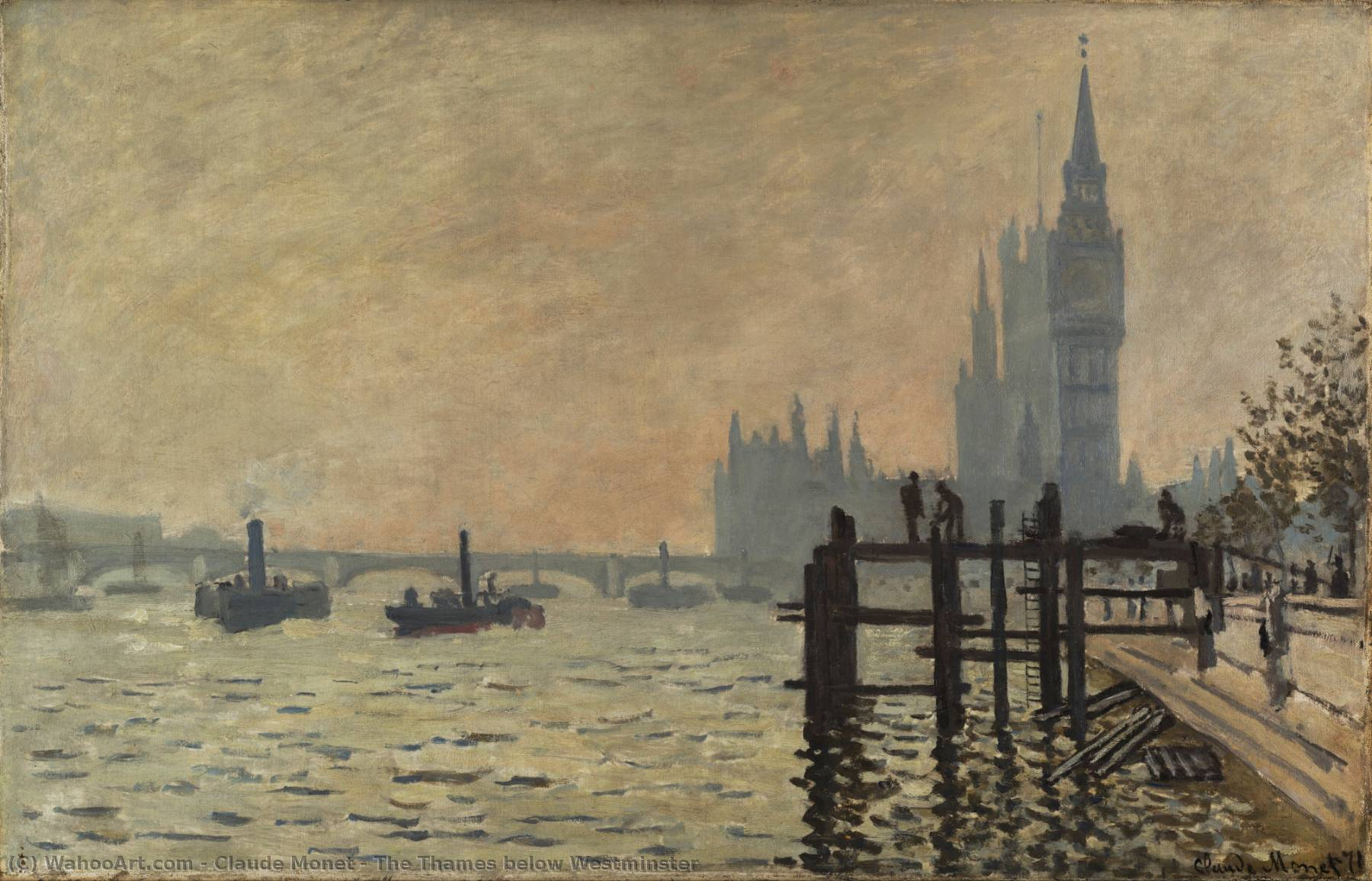 famous painting The Thames below Westminster of Claude Monet