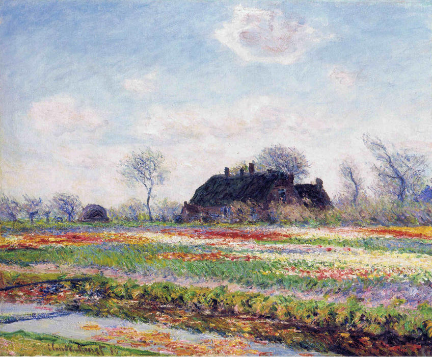 famous painting Tulip Fields at Sassenheim, near Leiden of Claude Monet