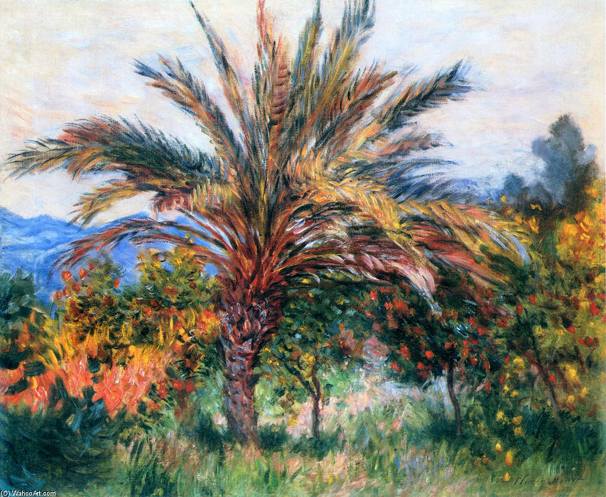 famous painting Palm Tree at Bordighera of Claude Monet