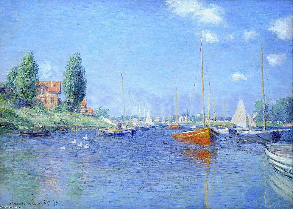 famous painting Red Boats, Argenteuil, 1875 (oil on canvas) of Claude Monet