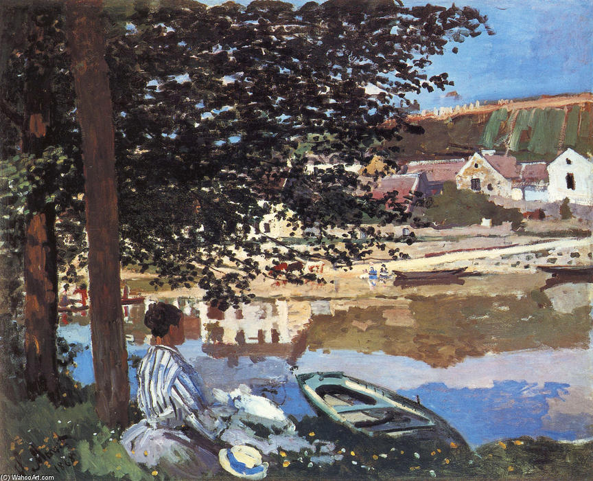famous painting River Scene at Bennecourt of Claude Monet